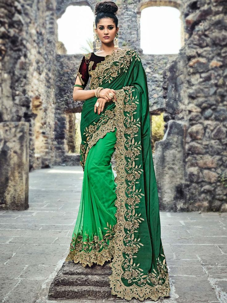 Aesthetic saree is designed in dark green satin pallu and green net skirt part with cutwok border to make you look very more gorgeous. Classic outfit will make you an icon of beauty.