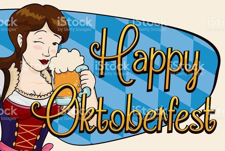 Happy Pretty Woman Celebrating Oktoberfest with a Stein