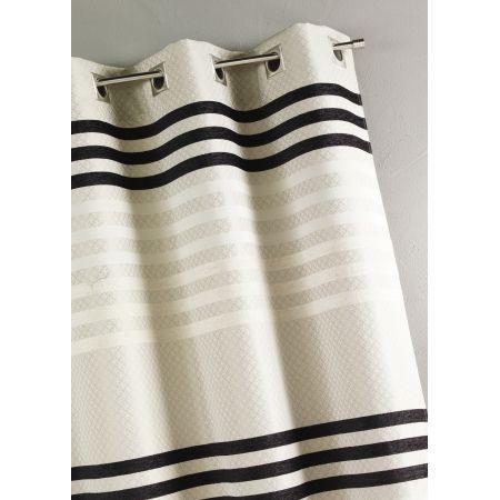 Ce rideau ameublement est en jacquard (tissus lourd) avec des bandes horizontales. Le tissu de ce rideau est lourd, vous obtiendrez un magnifique tomber !  Finition haut : 8 oeillets carrés coloris argent posés sur une bande de renfort (diamètre intérieur de l'oeillet : 4 cm)  Finitions côtés et bas : ourlets  Coloris disponibles : prune, lin, taupe, bordeaux et moka  Lavage : 30°.  Ce voilage mesure 140 cm de largeur et 260 cm de hauteur