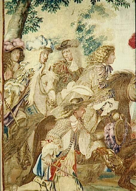"""Entrée du Roi à Dunkerque, le 2 septembre 1662 - par Le Brun Charles (1619-1690) (d'après), peintre Van der Meulen Adam Frans (1632-1690)  détail du groupe de trois personnages à l'extrême gauche : Philippe de France """"Monsieur, frère du Roi"""
