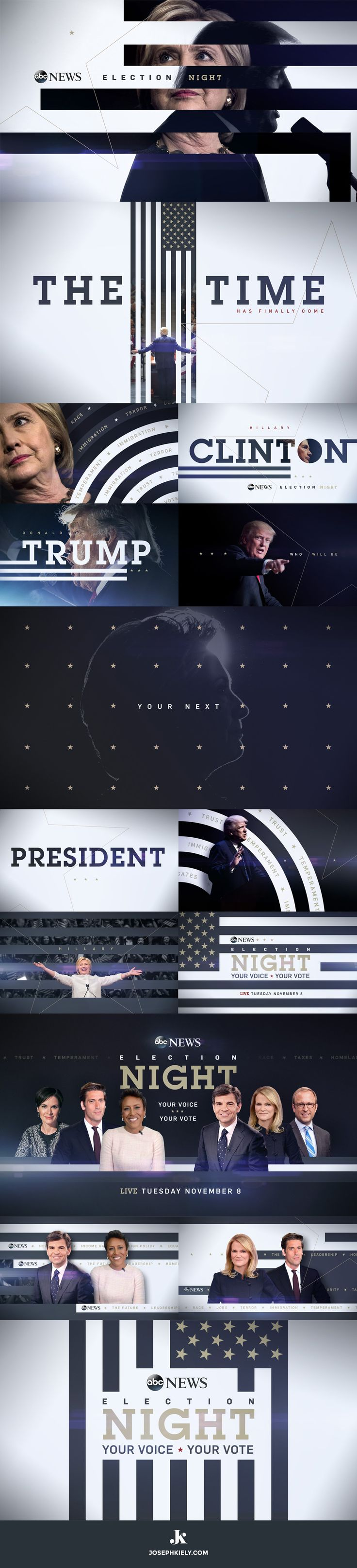 ABC NEWS Election Night 2016. Promo design and creative direction by Joseph Kiely for Stun Creative.