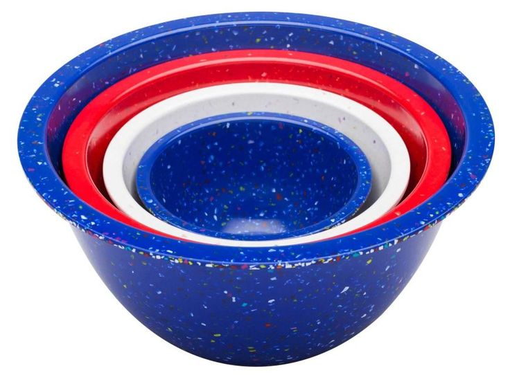 Serve up some festive snacks in red, white, and blue Confetti Nested Bowls made from ecofriendly 40 percent post-industrial recycled melamine. The four-piece dishwasher-safe set features four-quart, 2.5-quart, 1.25-quart, and 18-ounce bowls sprinkled with cheerful confetti. $39.99 at .