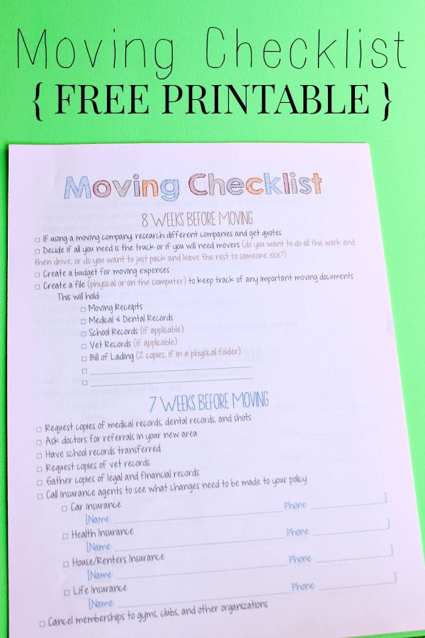25 best ideas about Moving checklist printable – Moving Checklist