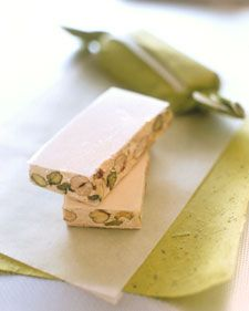 You can substitute almonds or hazelnuts for the pistachios. Edible wafer paper is available at baking-supply stores.