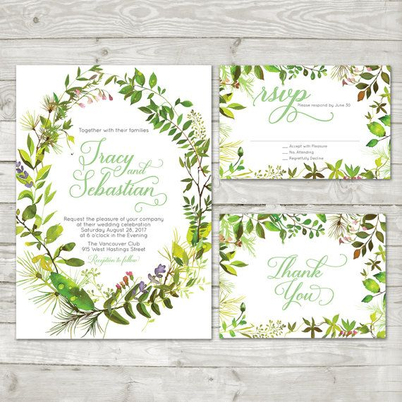 Green Leaves Wedding invitation Greenery Green by LMNDesignStudio