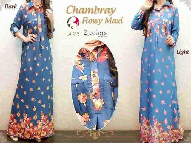Chambrey-Flowy Maxi  Fit XL Harga Seri  @Rp 70.000 Harga Ecer @Rp 80.000  http://pho.to/7HS5H/58