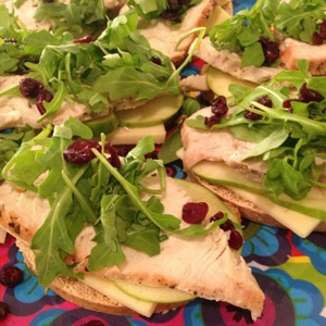 Open-faced Turkey Sandwiches with Cheddar, Apple and Arugula #recipe