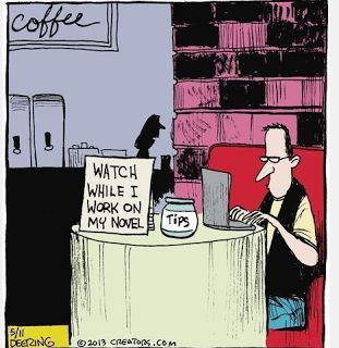 Mystery Fanfare: Cartoon of the Day: Coffee Shop Writer