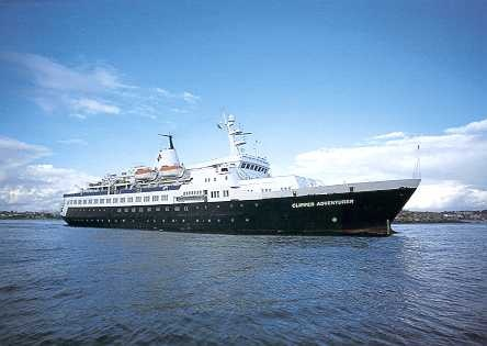 The Clipper Adventurer. This cruise circles Antarctica and the South Shetland Islands. The season goes from November to February. A sample itinerary would be 11-days on the ship, round trip from Ushuaia, Argentina. It can cost from $`4,890, based on double occupancy.