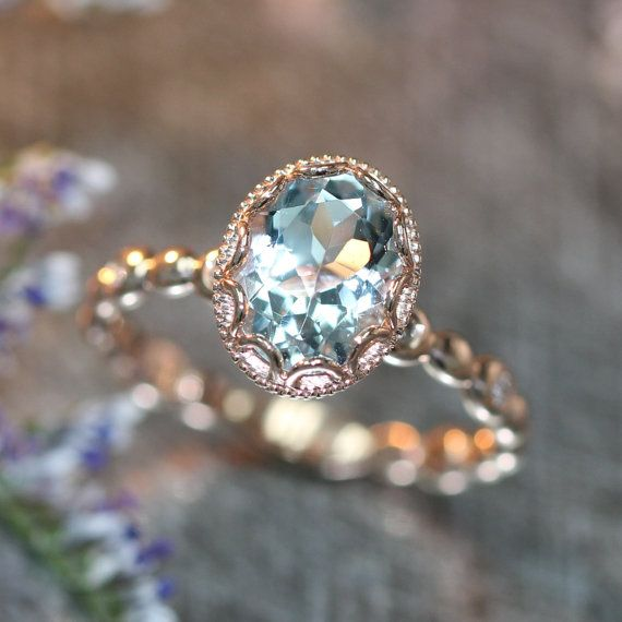 14k Rose Gold Floral Aquamarine Engagement Ring in Pebble Diamond Wedding Band…