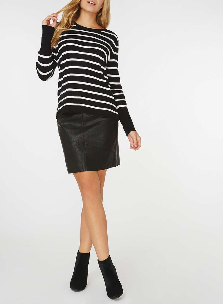 Womens **Only Multi Coloured Striped Jumper- Multi
