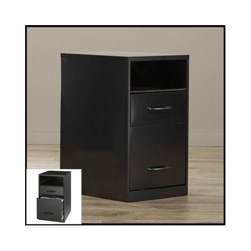 Black-File-Cabinet-2-Drawer-Metal-Storage-Shelf-Office-Home-Steel-Filing-Folders