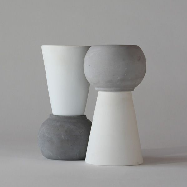 SC130 CERAMIC + CONCRETE DOUBLE VASE + POT ↔21.0cm↑14.0cm. White matte ceramic + grey matte concrete double vase + pot. High quality handmade objects Designed+Made by Decovery | Essential Details.