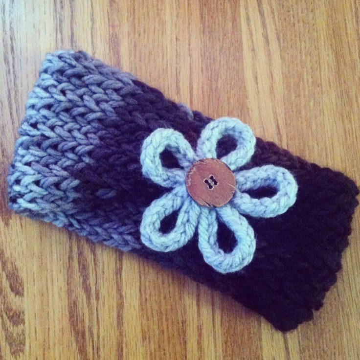 Loom knit ear warmer - gray, black, and brown with flower. Brown button. Kn...