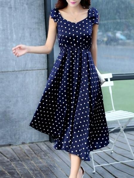 Charming V Neck Bowknot Polka Dot Maxi-dresses