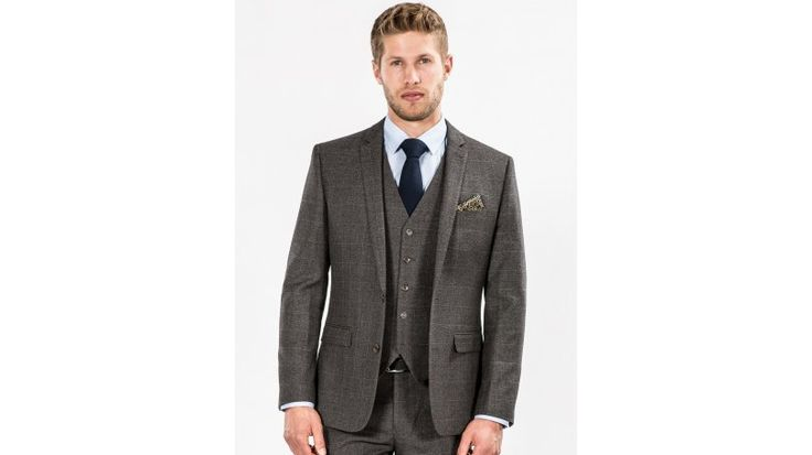 Grey Checked Tailored Fit Three Piece Suit - A subtle men's grey checked suit from Fellini Tailored. A matching blazer, waistcoat and trousers, this grey three piece suit for men is comfortable quality, at the great price of just £99. Make a statement at your next formal event with this flattering tailored fit grey suit.