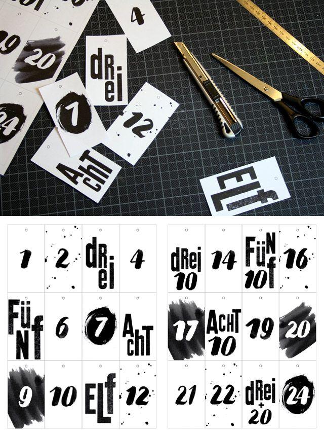Freebie: 24 Anhänger für einen selbstgebastelten Adventskalender // Druckvorlage von Sabrina - SMALL CAPS