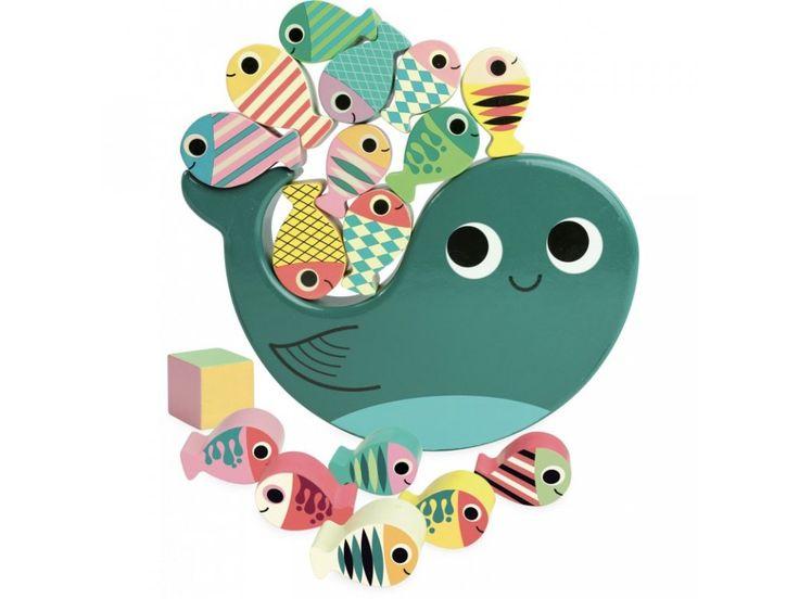 Vilac Dřevěná balanční hra Velryba. Rozvíjejte motoriku, koordinaci a soustředěnost Vašich nejmenší s balančních dřevěnou hračkou ve tvaru velryby.