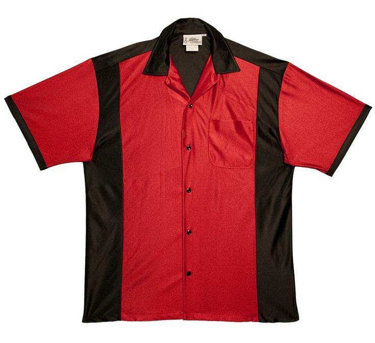 Bowlingshirt Com Red Amp Black Retro Bowler Blank Bowling