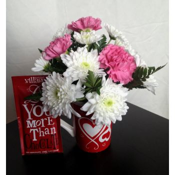 #bowmanvilleflowers #valentinesday #giftideas #love #sparklingcider #sparklerose #red #rose #teddy #bear #chocolatecoveredstrawberries  Love Mug & Hot Chocolate Combo | Bowmanville, Courtice, Newcastle, Oshawa, Whitby Flower Delivery