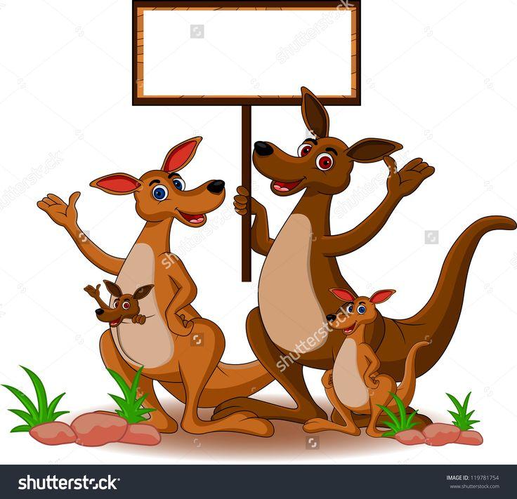 Funny Family Kangaroo Cartoon With Blank Board Ilustración vectorial en stock 119781754 : Shutterstock