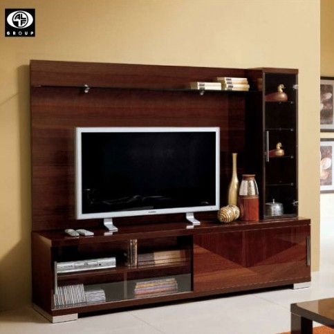 Gorgeous Italian Walnut Veneers Multi Functional Piece Designed To Hold A Large TV High Gloss Lacquer Finish