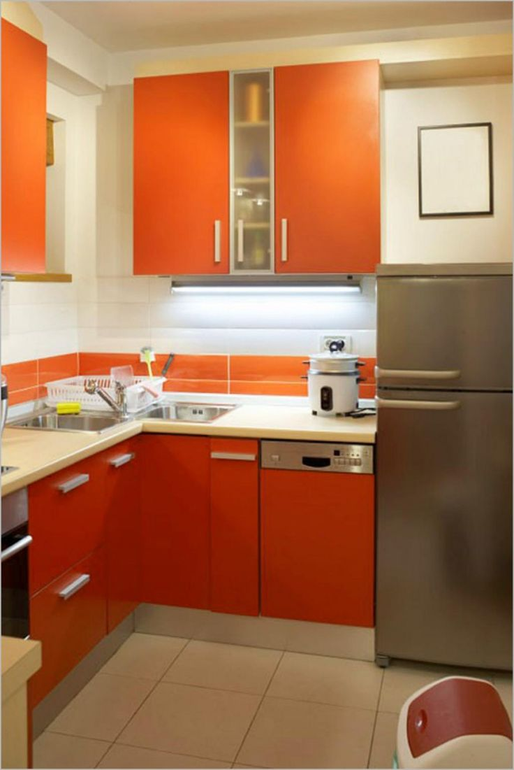Kitchen:Modern Small Kitchen Remodeling With Orange Kitchen Cabinets Also Refrigerator With Kitchen Faucet Also Sink Also Rice Cookers Also Trash Witeh Ceramics Floor And White Wall For Small Kitchen Kitchen Remodeling Makes Solution for Small Kitchens