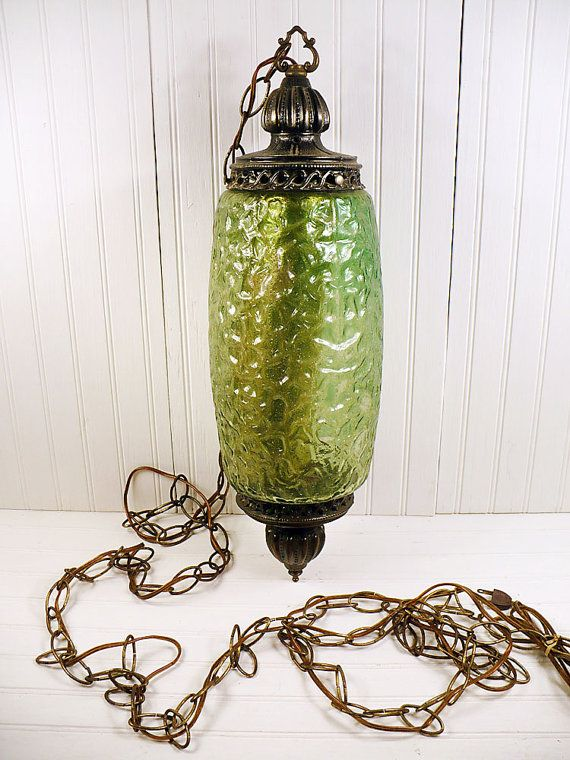 Vintage Swag Lamp Green Glass Metal Hanging Chain Light