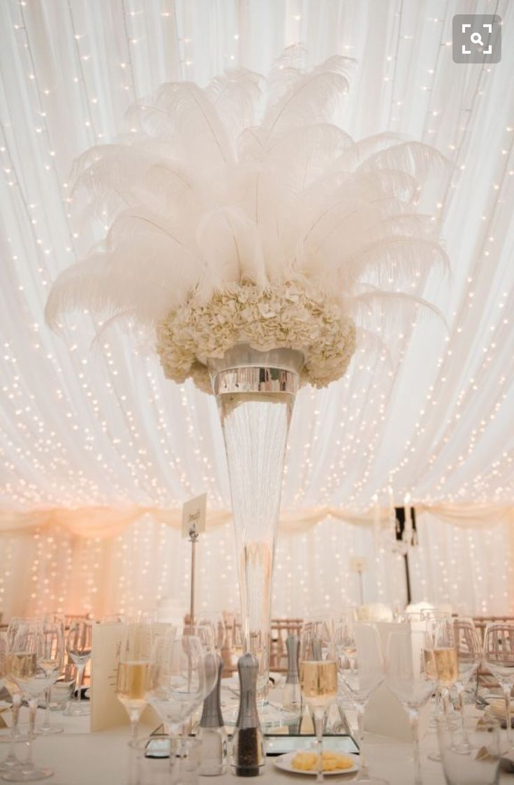 Rent ostrich feather centerpieces wedding amp party centerpiece rentals - Great For A Gatsby Wedding More Feather Wedding Centerpiecesprom Decorations