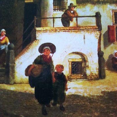 Town Scene with Figures by Jan Hendrik Verheyen (detail).
