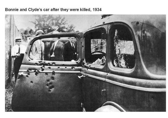 Bonnie and Clyde's car after they were killed in 1934
