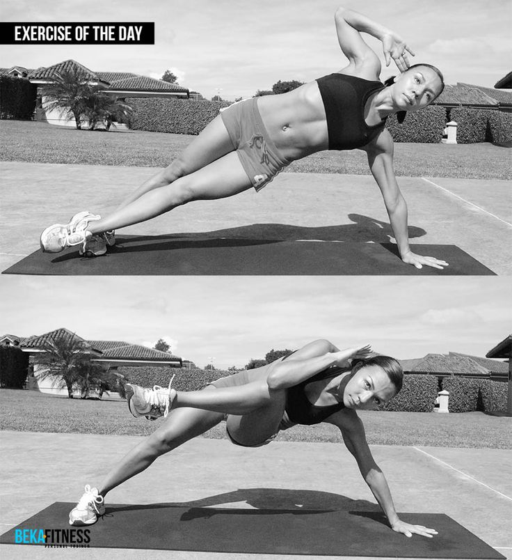 Side plank crunch bekafitness pinterest side plank for Plank workout results