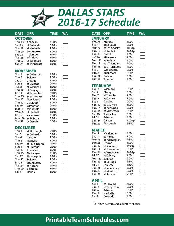 Dallas StarsHockey Schedule 2016- 2017 Print Here -  http://printableteamschedules.com/NHL/dallasstarsschedule.php