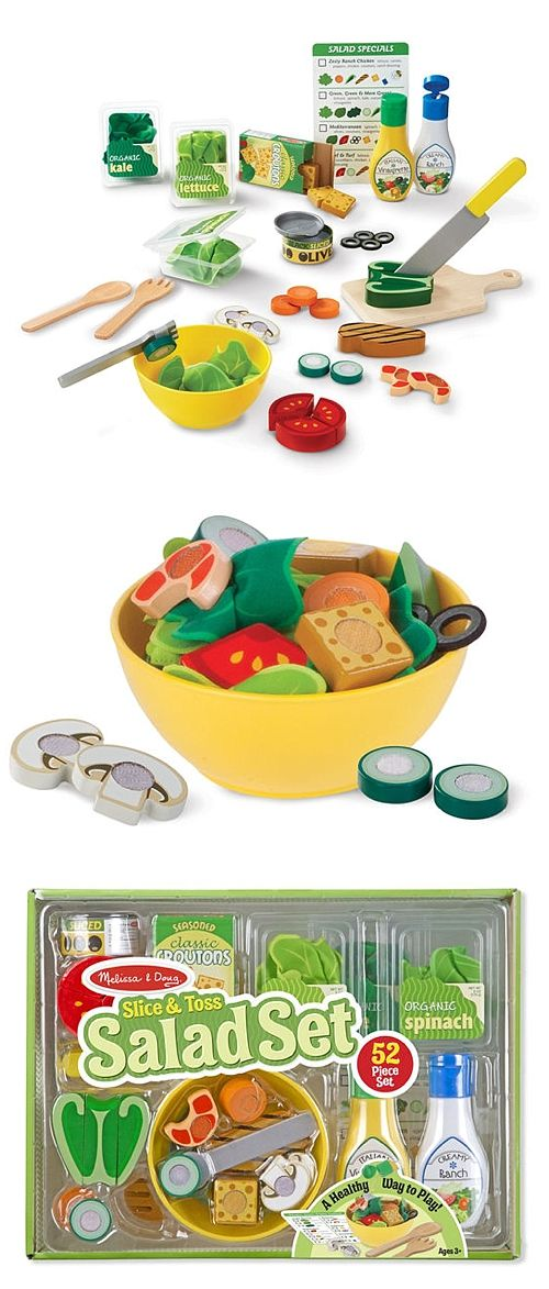 """Make sensational pretend play salads fresh to order! The set includes felt salad greens in hinged containers, and slice-able wooden vegetables, proteins, and toppings. For the finishing touch, two salad dressing bottles """"squirt"""" string! Place an order on the reusable menu card, slice ingredients with a wooden knife on the cutting board, toss with wooden salad utensils in the bowl. Kids and parents alike will love this healthy way to play!"""