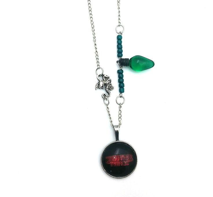 """Green Dragon Light Stranger Things Inspired Glass Dome Beaded Charm 28"""" Chain Necklace Silver Tone"""