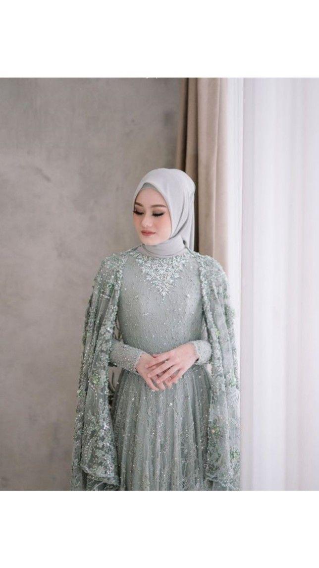 Model Kebaya Lamaran Hijab Modern Di 2021 Gaun Pengantin Gaun Pengantin Sederhana Bentuk Gaun