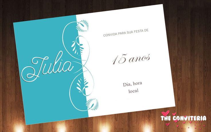 Lindos convites azul tiffany 15 anos.  Confeccionados no papel fotográfico glossy 230 gr.  Acompanha envelope e fita com laço chanel da cor desejada.