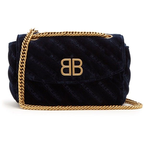 Balenciaga Chain Round S (5,765 PEN) ❤ liked on Polyvore featuring bags, handbags, shoulder bags, velvet handbag, quilted shoulder bags, over the shoulder purse, quilted chain shoulder bag and velvet purse