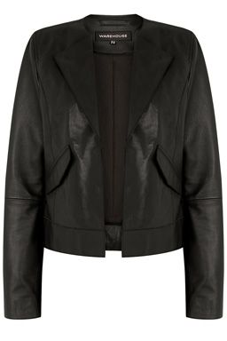 This leather jacket features a collarless neckline, open front, long sleeves and two front pockets  #WAREHOUSEWISHLIST