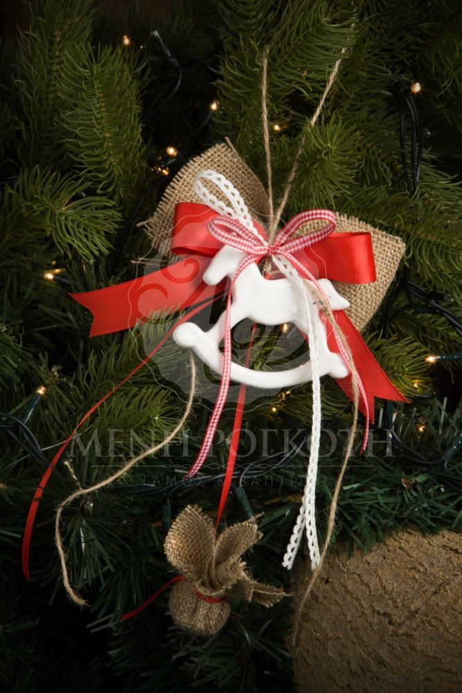 Χριστουγεννιάτικη μπομπονιέρα με πορσελάνινο αλογάκι, Christmas favor porcelain horse #Christmasfavors