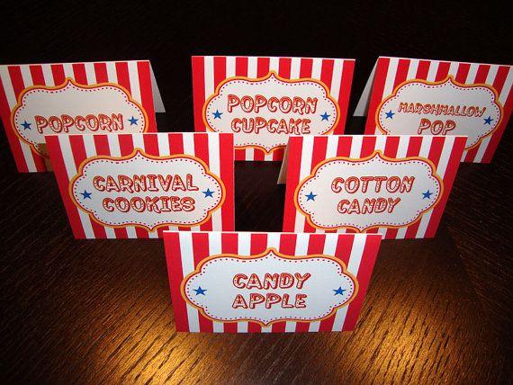 Circus Carnival Food Labels Diy Printable Food Signs