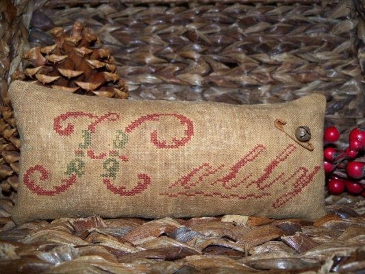 Primitive Cross Stitch 'Holly' Christmas by SimpleThymePrims, $21.00