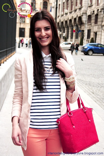 fuchsia bag and blue stripes