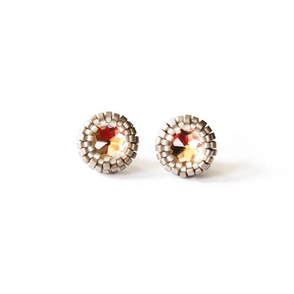 Peach and silver beaded stud earrings