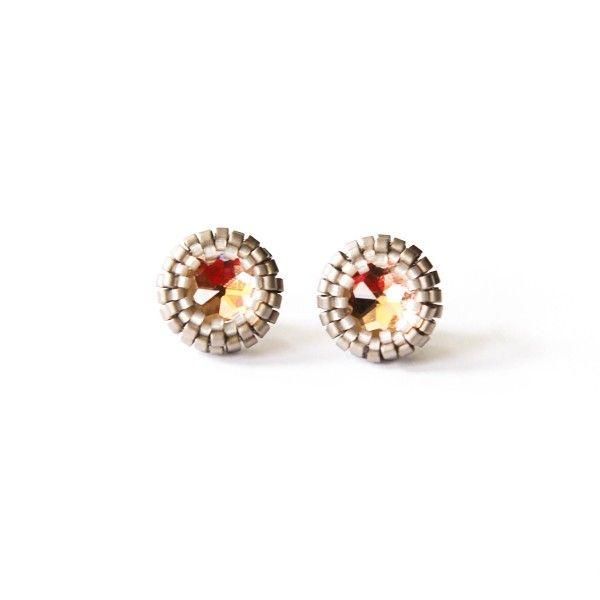 Peach and silver beaded stud earrings