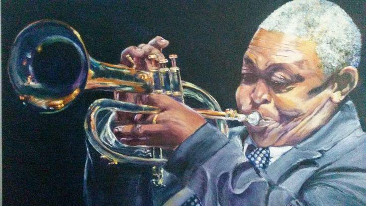 Trumpeter, Hugh Masekela. Oil on canvas.