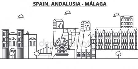 España, Málaga, Andalucía arquitectura línea horizonte ilustración. Paisaje urbano vector lineal con los monumentos famosos, monumentos de la ciudad, diseño de los iconos. Paisaje con trazos editables Ilustraciones De Stock Sin Royalties Gratis