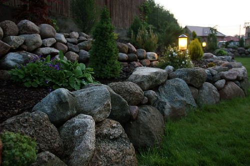 Rośliny i ogród, Ogród - Nasz ogród na działce o pow. 660 m2 ze skarpą ( wymuszona ze względu na betonowy murek oporowy ).
