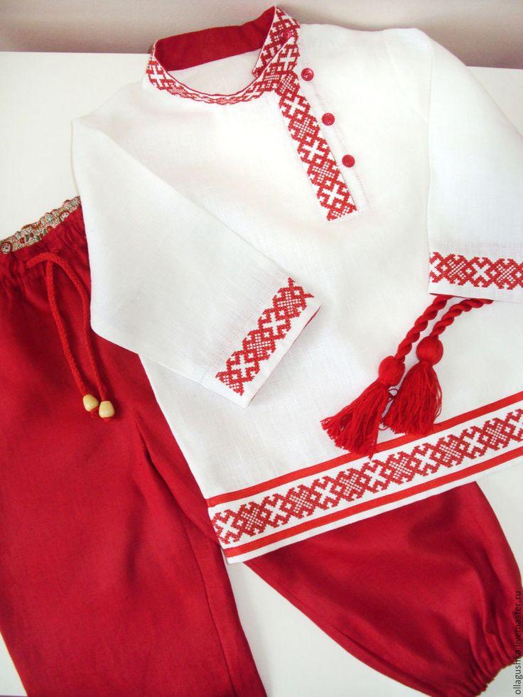 """Купить Детская косоворотка и порты """"Пересвет"""" - русский стиль, русская вышивка, вышитая рубаха"""