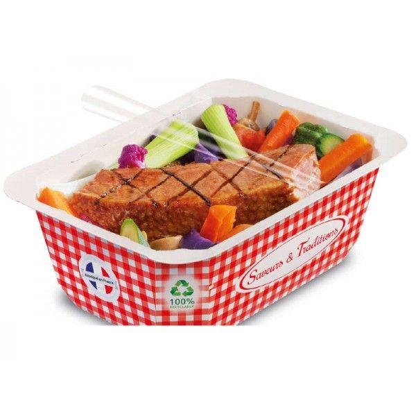 BARQUETTE SCELLABLE CARTON 1 LITRE RECYCLABLE Barquette micro ondable scellable en carton alphacel 1000 cc K Food Barquette alimentaire scellable 100 % étanche et 100 % recyclable